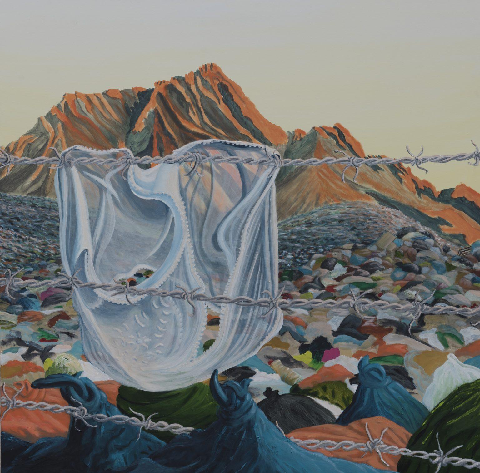 RESTOS (acrílico en tela 150 x 150 cm.) obra del artista visual Guillermo del Valle
