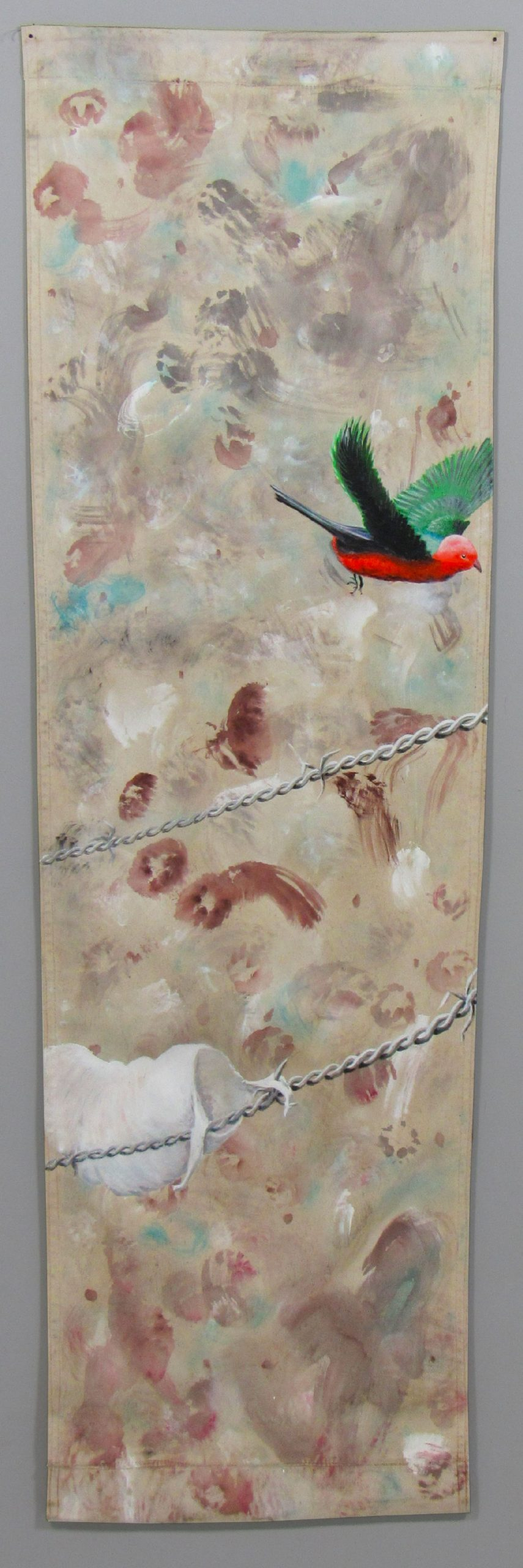 Painting bird flying over barbed wire by visual artist Guillermo del Valle