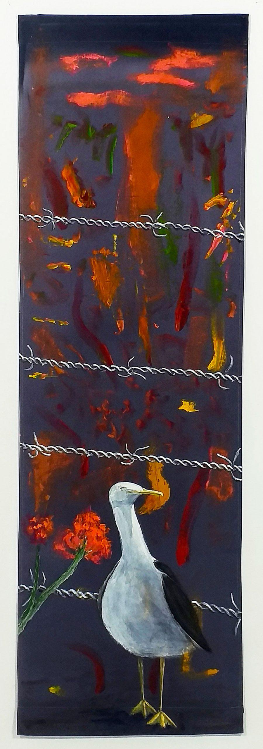 Pintura pájaros y alambres de púas obra del artista visual Guillermo del Valle