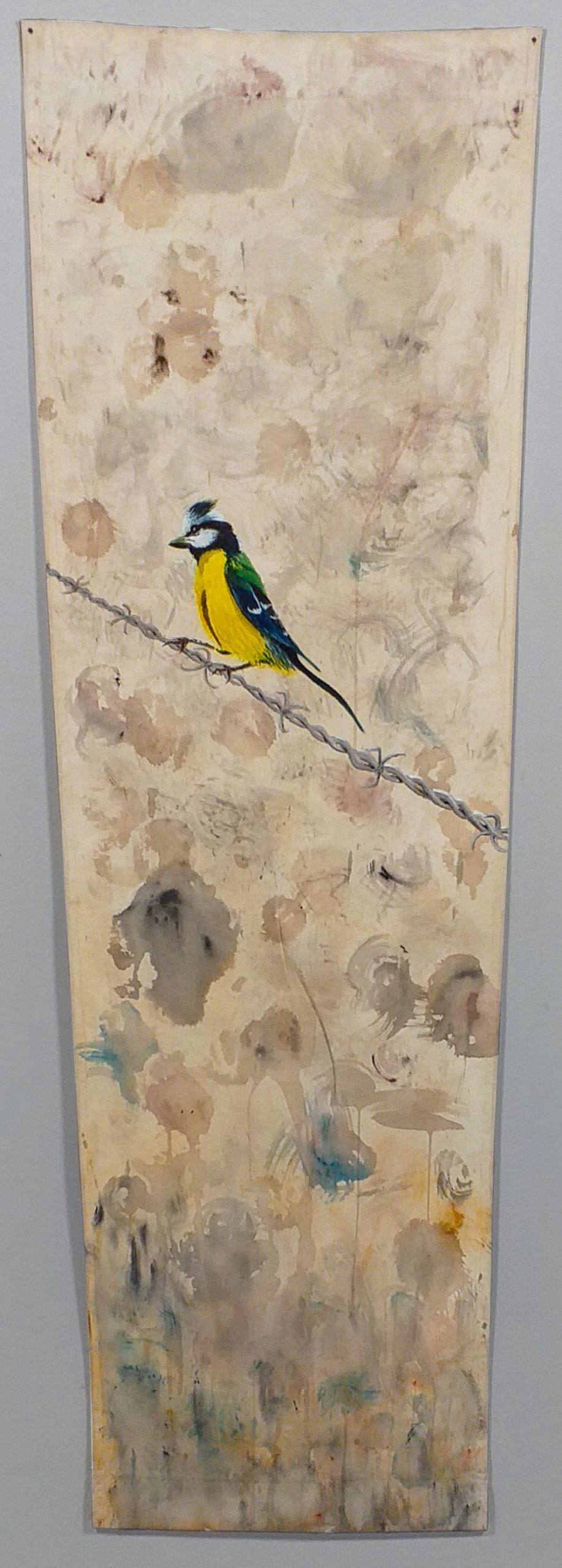 Painting birds on canvas of beach hammocks by visual artist Guillermo del Valle
