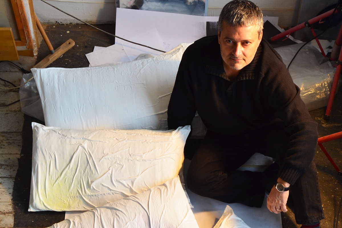 Visual art with pillows by Guillermo del Valle