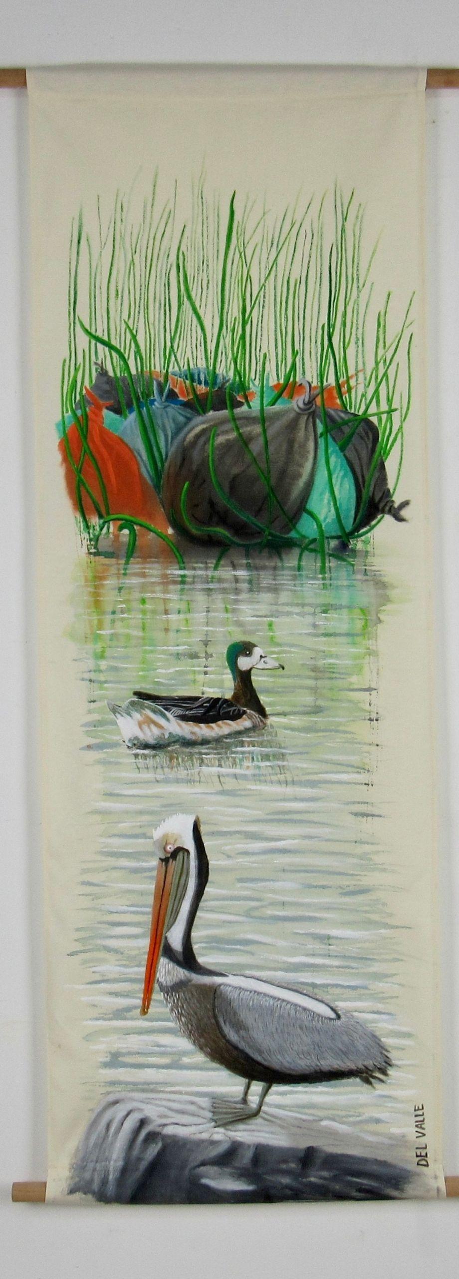 Humboldt pelican and mallard (135x45 cm)